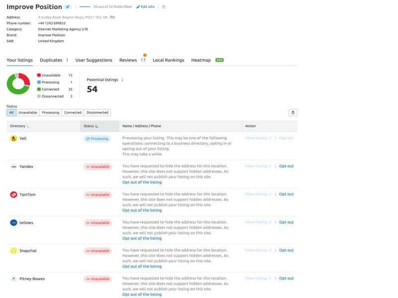 Listing management tool screenshot